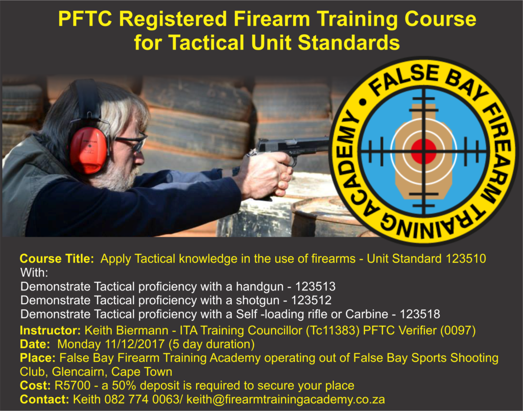 PFTC Registered Firearm Training Course for Tactical Unit Standards