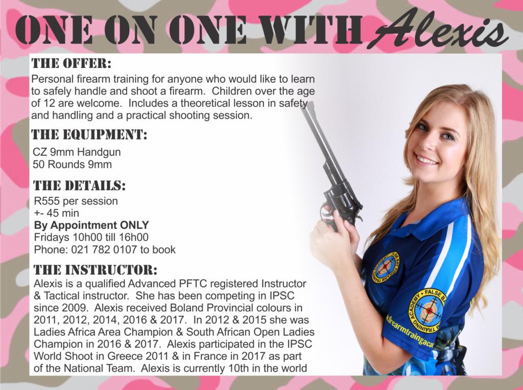 Personal firearm training with Alexis Biermann - Shooting Range Western Cape